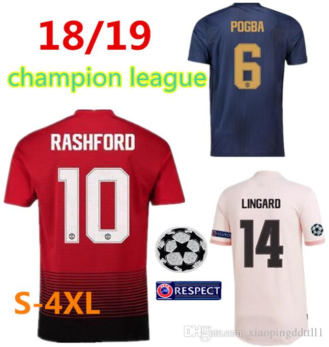 low priced 3ceab 04a1c S-4XL champions league man 2018 2019 united jerseys man utd soccer jersey  home away third pogba 18 19 maillot de foot