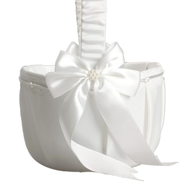 Decoración de la boda de satén Caja de flores de marfil con lazo de amor Cesta para la ceremonia de boda Fiesta en casa