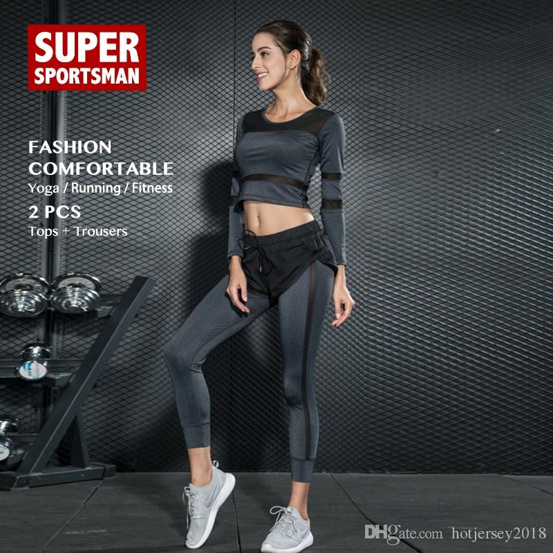 729ededc9c91 Women Sportswear Running Yoga Set Workout Tights Sexy Training Clothes Gym  Fitness Clothing Sport Active Wear Jogging Suits 2pcs #120139
