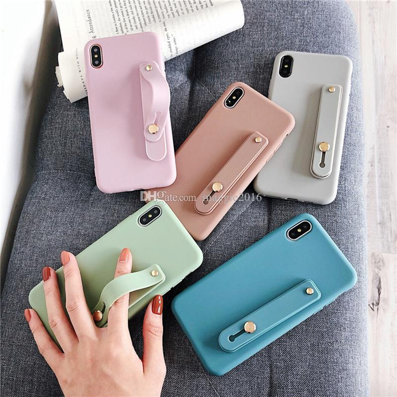 Wrist Strap Phone Case For iPhone 8 7 6 6s Plus X XR XS Max 8plus Soft TPU Case Candy Color Cover With Wristband