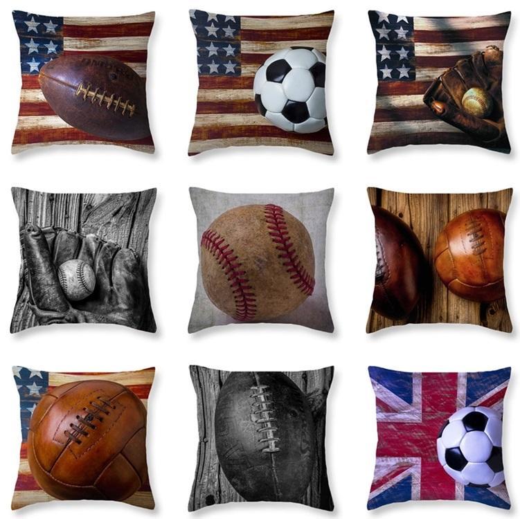 de7173744c020c 9styles Softball Baseball Travesseiro Futebol Capas de Almofada Futebol  Bandeira Vintage Pillowslip Futebol Impresso Sofá Capa de Almofada Home  decor ...