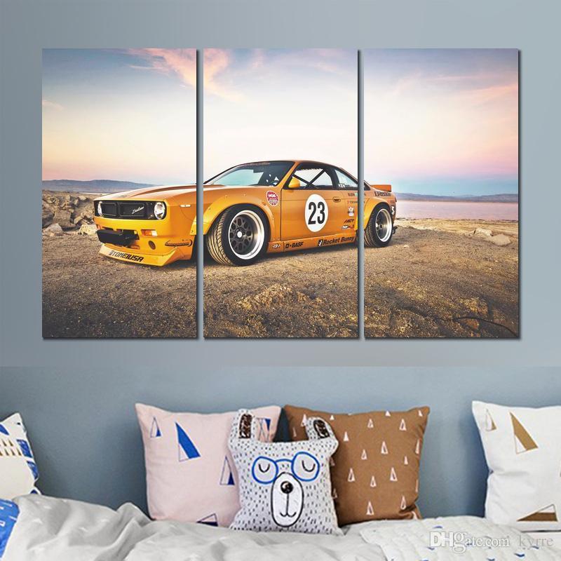 Tuval poster 3 paneller nissan sx roket tavşan resim oturma odası duvar dekorasyon için baskılı boyama