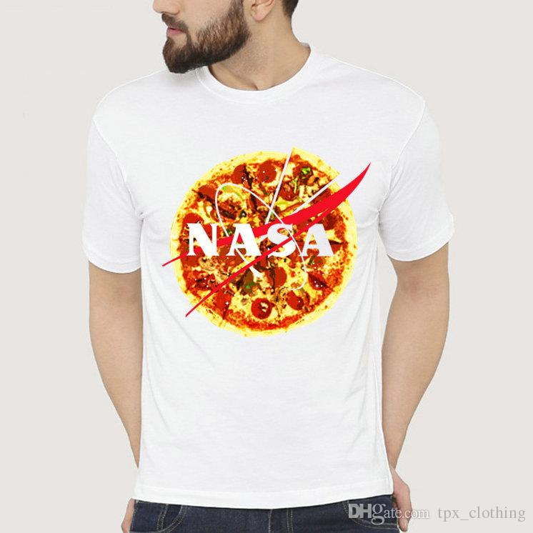 Pizza t shirt Nasa food short sleeve gown National Aeronautics tees Pure colorfast picture clothing Quality modal Tshirt