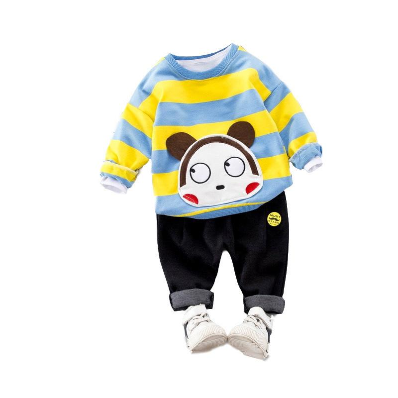 174cefb349e3 2019 Spring Autumn Children Boys Girls Cotton Clothing Set Baby Cartoon  Stripe T Shirt Pants /Sets Fashion Kids Casual Tracksuits From Xiaocao05,  ...