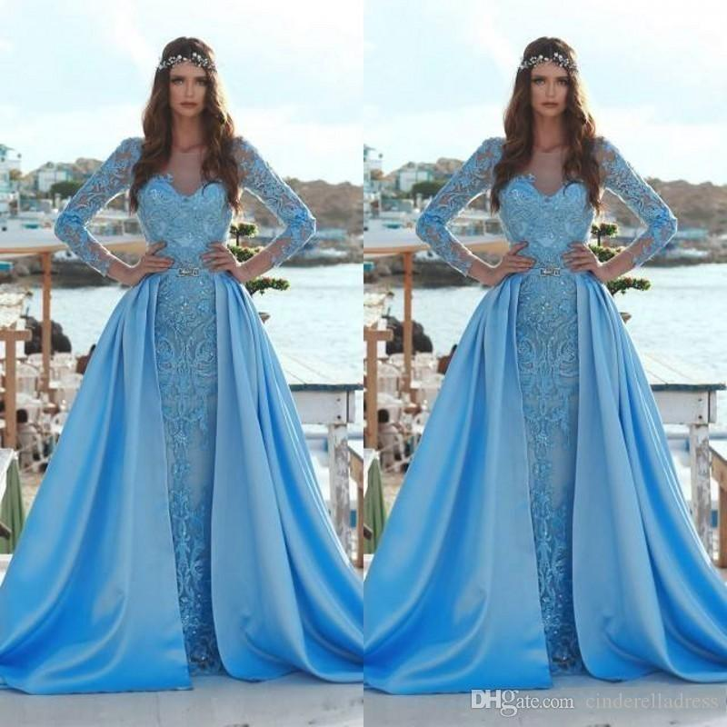 c37ec1f6c666 2019 Modest Blue Mermaid Prom Dresses With Detachable Train Long Sleeve 3D  Floral Appliques Sequin Arabic Formal Evening Gowns BC0638 China Prom  Dresses ...