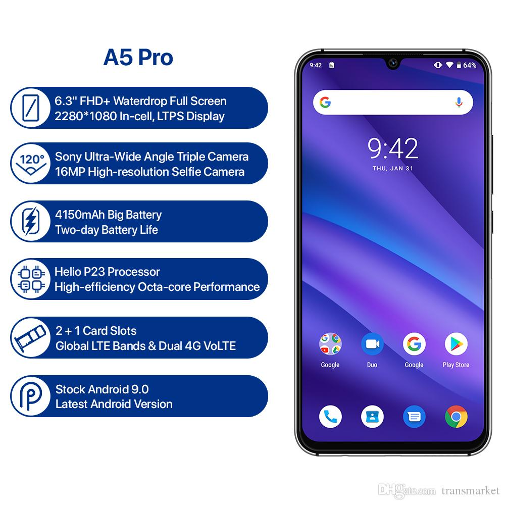 UMIDIGI A5 PRO Global Version Android 9.0 Octa Core 4GB 32GB 6.3' FHD+ 16MP Triple Camera 4150mAh Fast charge Celular Smartphone