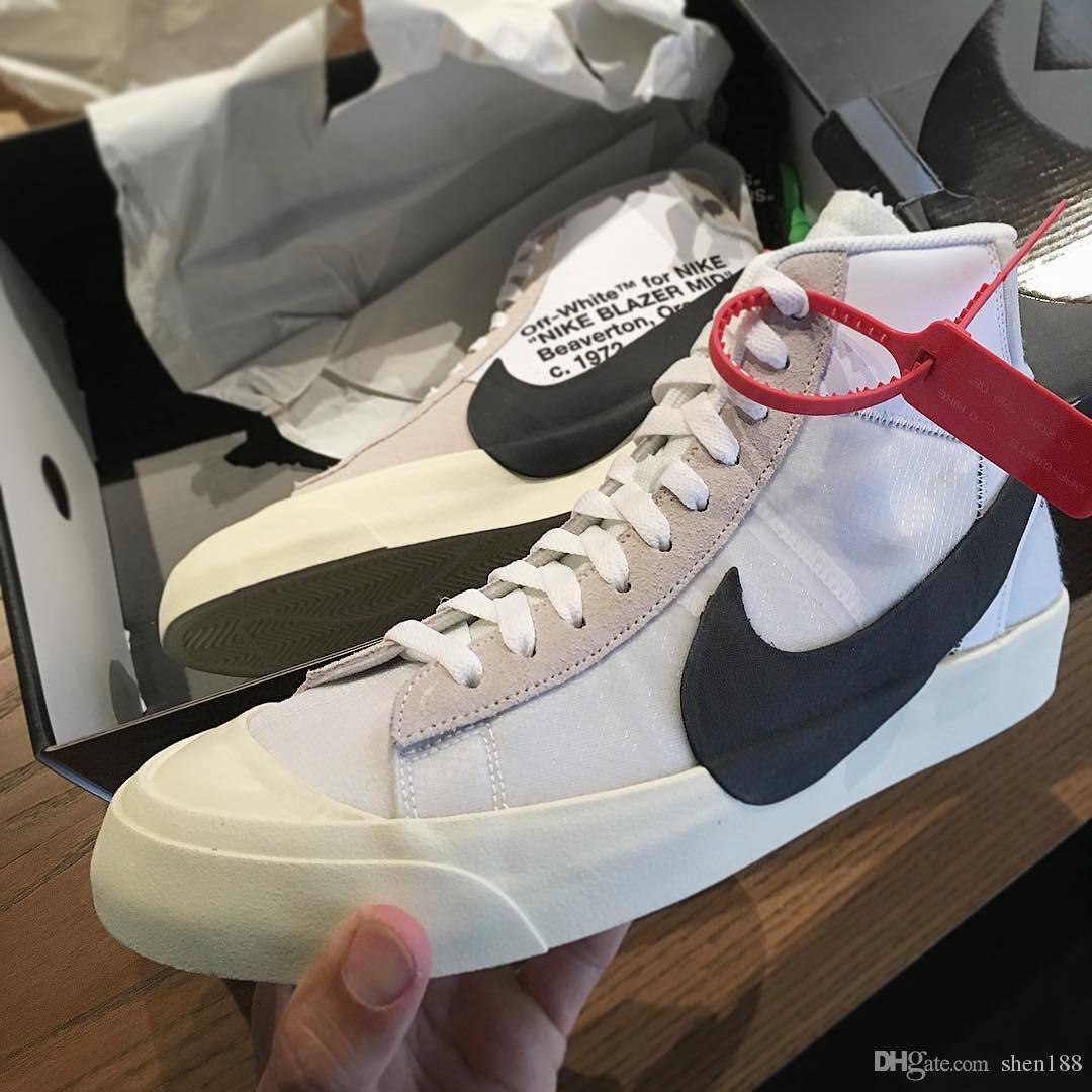 746bd268b52d9 Virgil Abloh Off White The Ten X Nike Blazer Grim Reepers Mid Sneakers OW  Men Women Black White Sport Casual Shoes Running Shoes Fashion Shoes Shoes  For ...