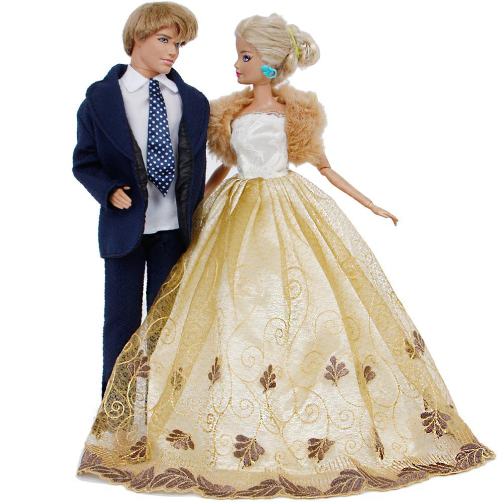 2d2f89ca56e6 Handmade Outfits Blue Suit + Wedding Dress Ball Gown With Coat Princess  Party Accessories Clothes For Barbie Ken Doll Toy Dolls Houses Accessories  Crafts ...