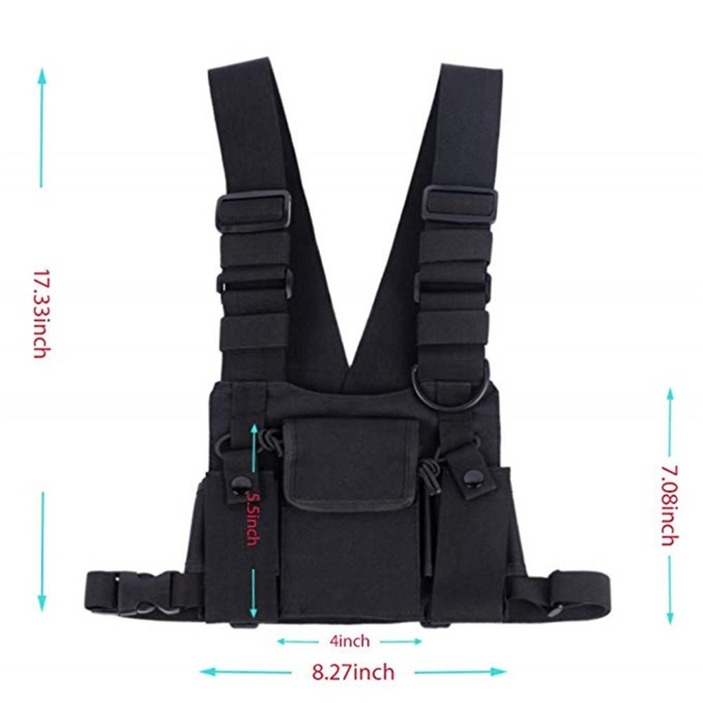 Abbree Radio Chest Harness Chest Front Pack Pouch Holster Vest Rig Bag for Walkie Talkie Motorola Baofeng TYT Wouxun