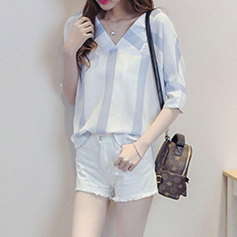 2352a58f538663 2019 Korean Style Striped V Neck Blouse Vacation Beach Casual Half Sleeve  Blouse Summer Women Loose Cotton Shirt Top Chemise Femme From Bunnier, ...
