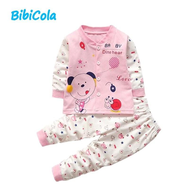 Autumn Baby Girl Boys Clothes Sets Cute Spring Outfits Infant Cartoon Printing Sweatshirts+Casual Pants 2Pcs For Newborn Set