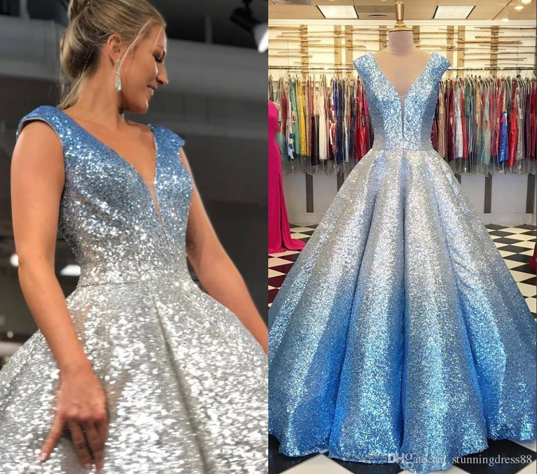 Glitz Sliver Sequin Ombre Blue Prom Party Dresses Ball Gown Deep V neck Cap Short Sleeves Corset Quinceanera Evening Formal Dress Long Cheap
