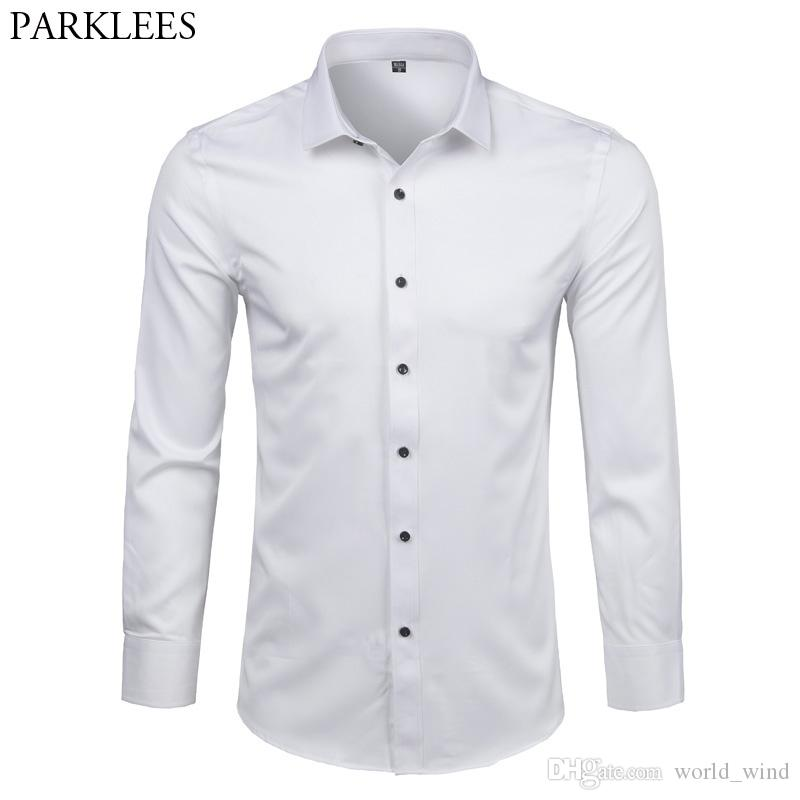43ef319eea0 2019 Men S Bamboo Fiber Dress Shirts Slim Fit Long Sleeve Shirt 2018 New Casual  Button Down Elastic Formal Shirts For Business Man  388413 From World wind