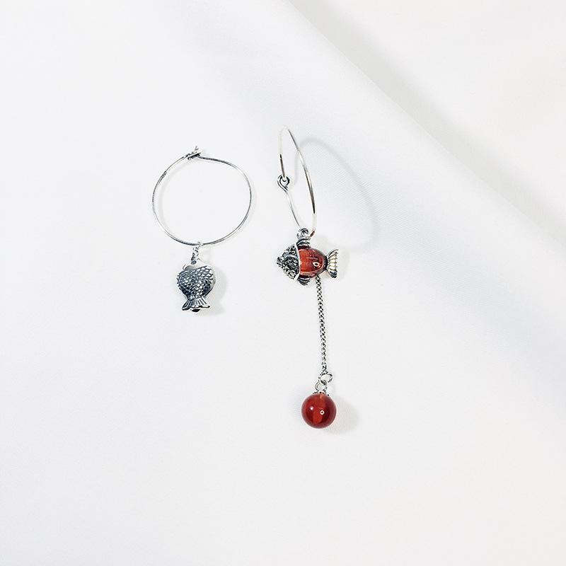 925 sterling silver asymmetrical red crystal stone fish animal and ball style vintage hoop earrings for women 2019 New gifts
