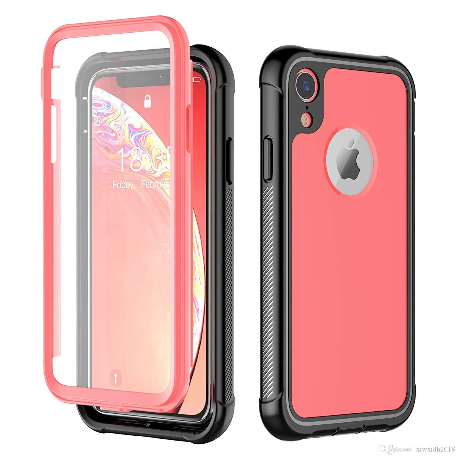 check out 55aea b29f2 For iPhone XR Case Full-Body Rugged Cover Case with Built-in Screen  Protector Support Wireless Charging Thin Case for iPhone 6.1 Rose Red