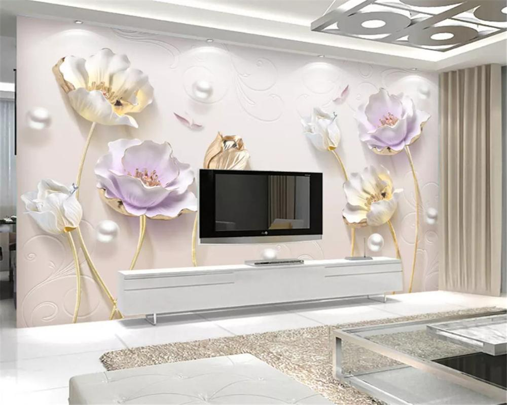 Embossed elegant Chinese simple jewelry three-dimensional tulip background wall paper decorative painting 3d wallpaper