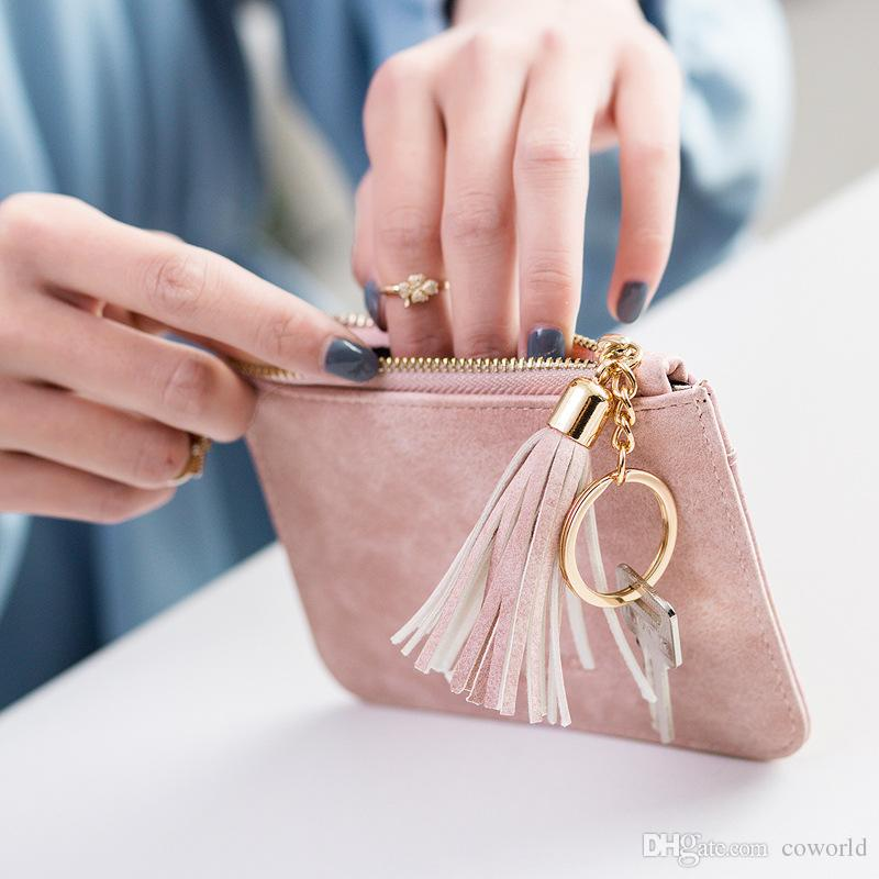 Small Wallet Womens Mens Coin Change Purse Pouch Zippered Wallet Make Up Cellphone Bag with Strap
