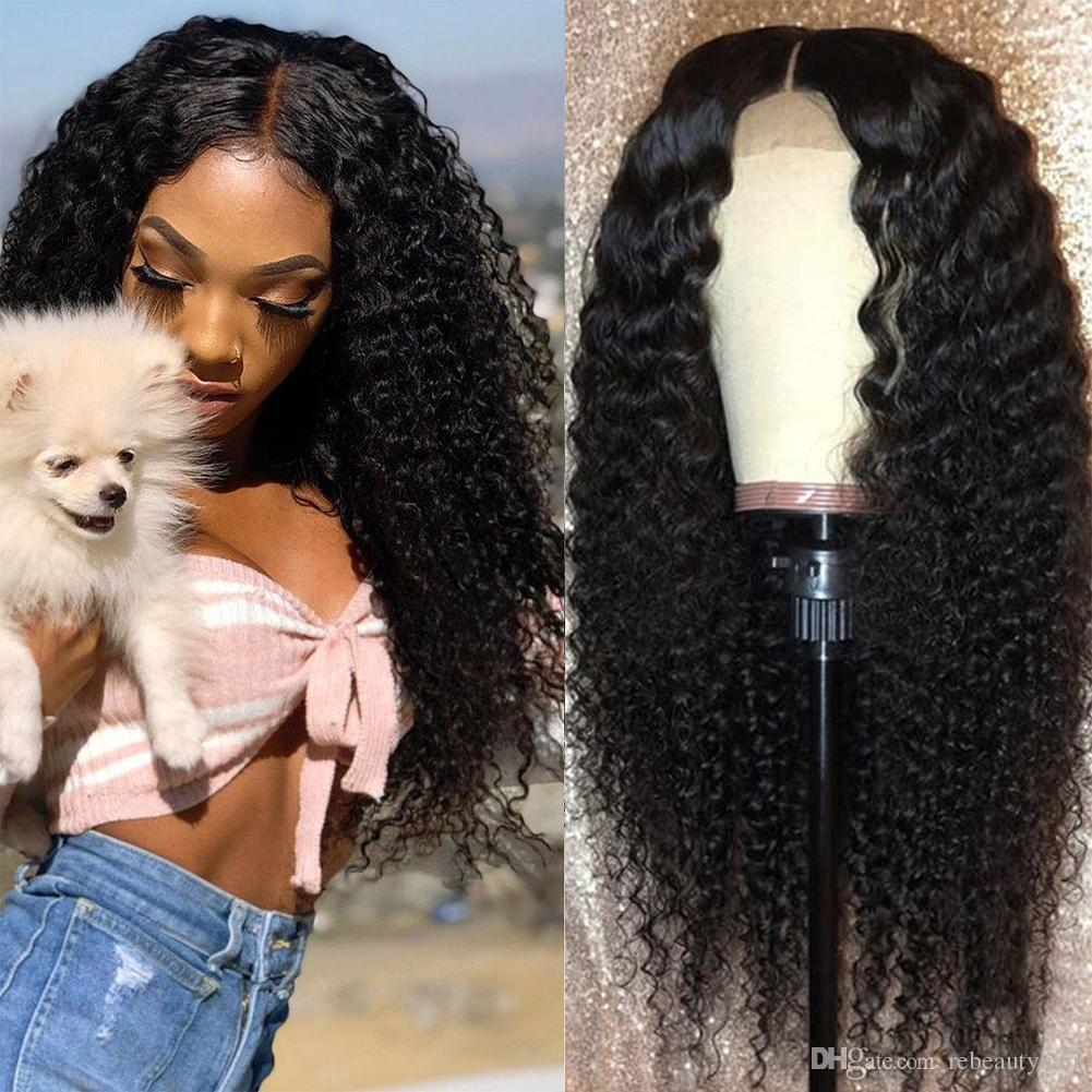 Rebeauty Glueless Kinky Curly Lace Front Wigs Long Black Wigs High Temperature Heat Resistant Fiber Synthetic Wigs for Women 20 Inch