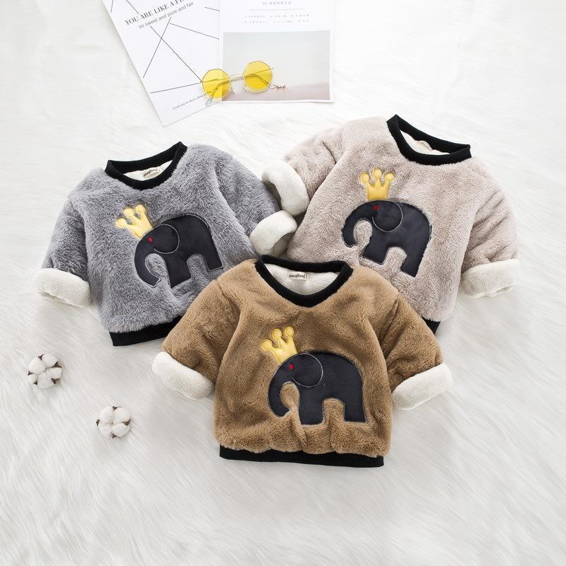 c65d393c9216 2019 Children Fleece Sweaters Girls Boys Long Sleeve Casual Thicken ...