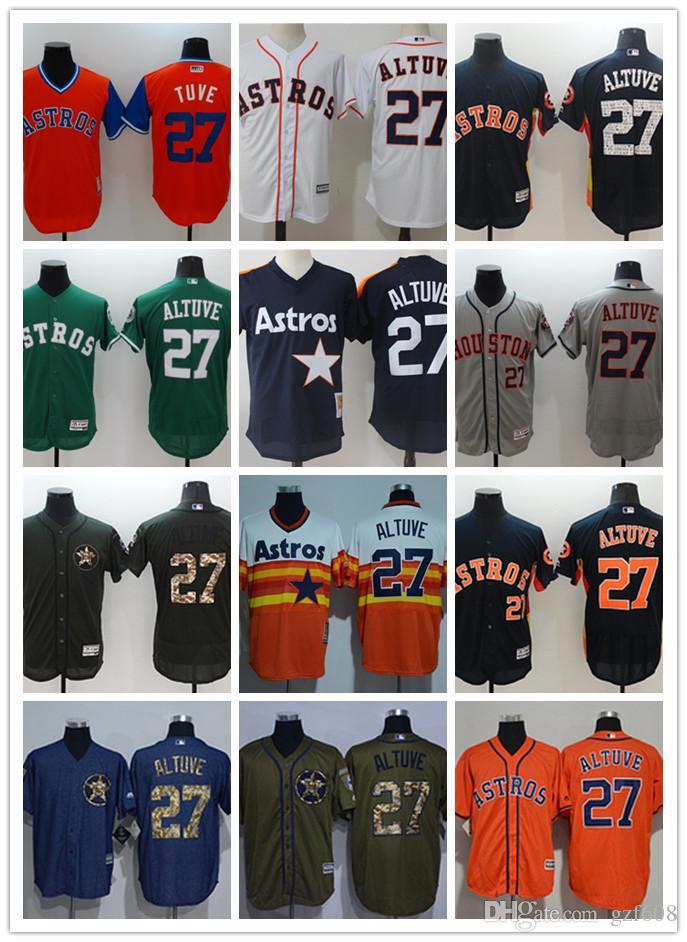 innovative design 5519c 06e2e custom Men s women youth Houston Astros Jersey #27 Jose Altuve Blue Orange  Grey White Baseball Jerseys