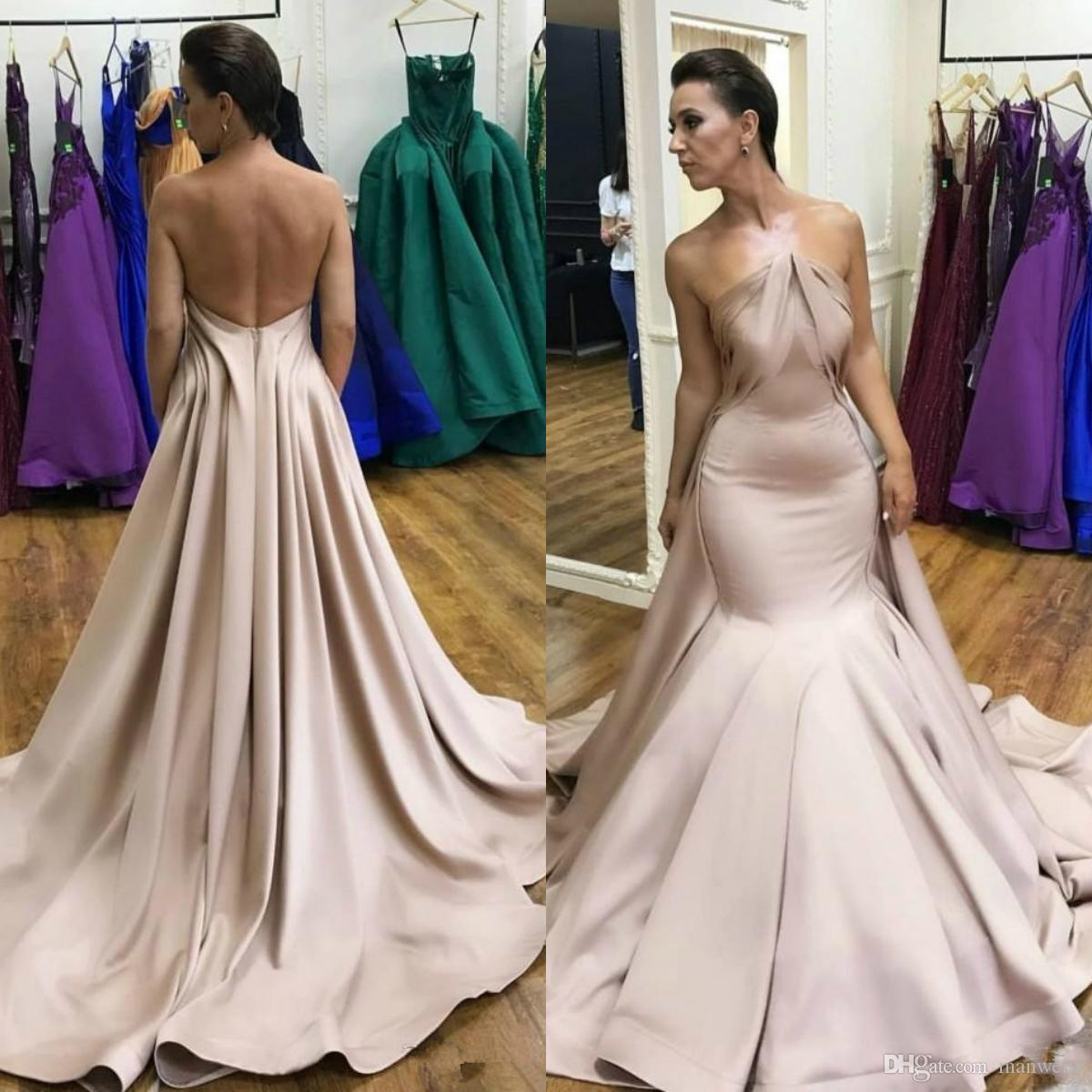 2020 mangas Strapless Mermaid Prom Dresses com destacável Train Backless Ruched Satin Formal Evening Vestidos Custom Made Robe De Soiree