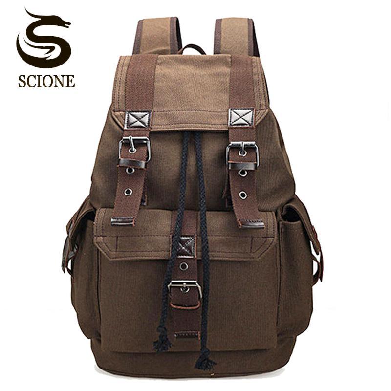 cffc19468e73 Scione Unisex Canvas Backpack School Rucksack Men Drawstring Backpacks  Women Travel Shoulder Bagpack Teenagers Laptop Back Pack Laptop Back Backpack  Women ...
