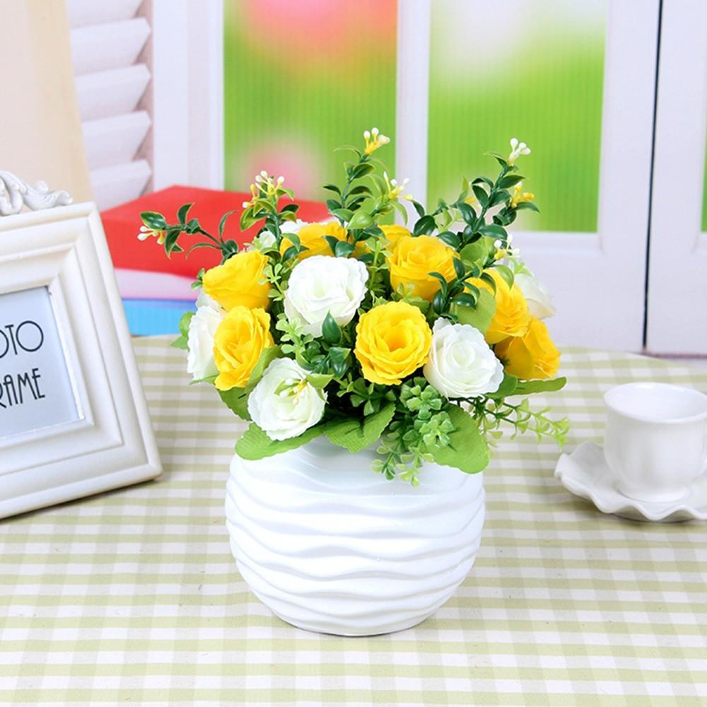 Artificial High Quality Silk Flower Bunch Rose Flower Table Artificial Silk Pot Wedding Home Party Hot Sale