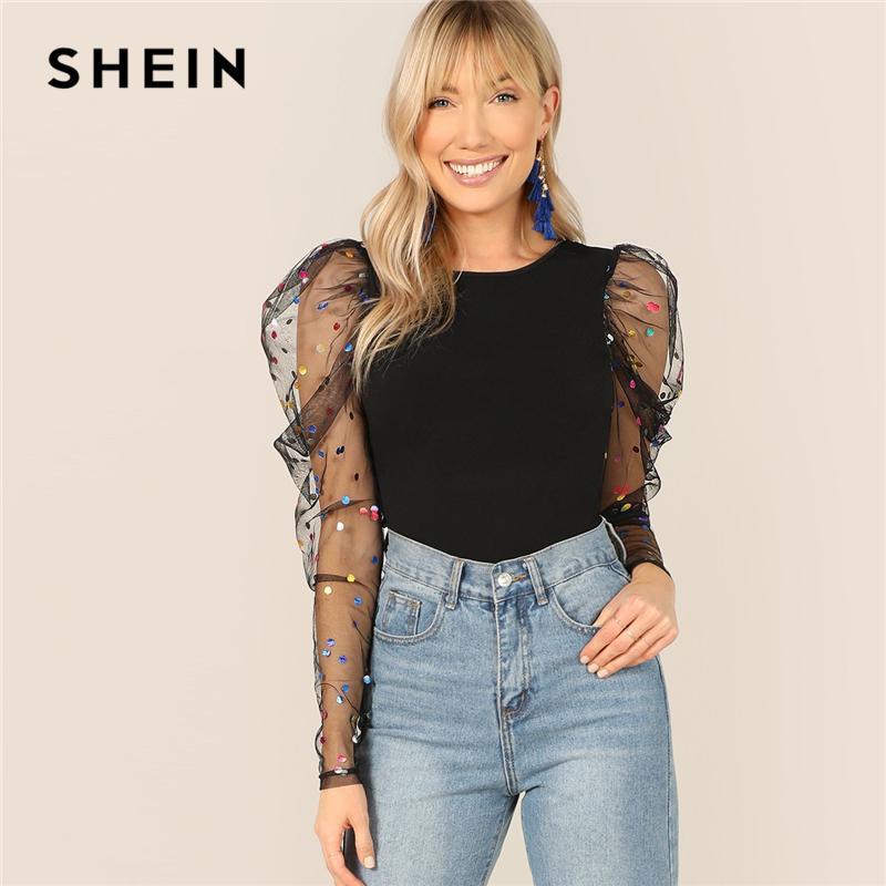 3ae11f5c55 SHEIN Black Colorful Dot Puff Shoulder Mesh Gigot Sleeve Skinny Tee O Neck T  Shirt Women Spring Slim Fit Party Club Tshirt Tops T Shirts Best Best Funny  ...