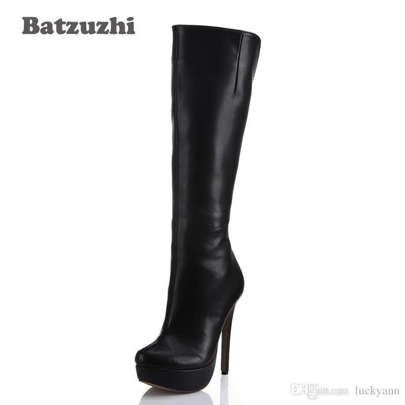 ebcb574177 Compre Zapatos De Mujer Tacones Altos Rodilla Botas Altas Invierno Sexy  Platfrom Botas Señoras Zapatos De Otoño Botas De Cuero Negro Zapatos Mujer