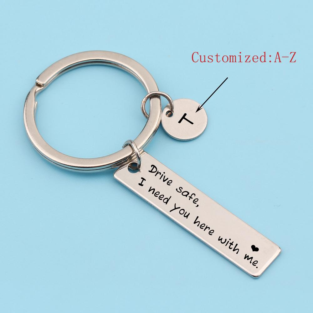 Initial Name Letter Engraved Sliver Bag Charm Car Keychain Drive Safe I  Need You Here With Me Gifts For Couple Lover