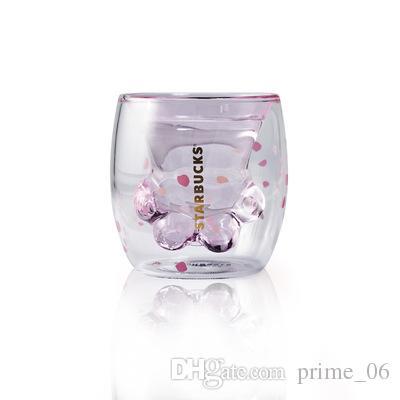 2019 starbucks limited eeition cat foot cup sakura 6oz pink double wall glass mug starbucks cat. Black Bedroom Furniture Sets. Home Design Ideas