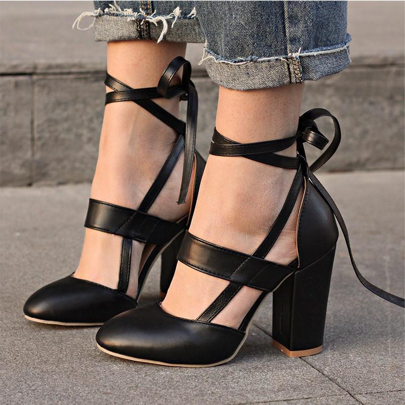 Compre Zapatos De Vestir De Diseñador 2019 Mujeres Bombas Tacones De Moda  Mujer Con Cordones Tacones Altos Gladiador Mujer Tacones Negro Rosa Vestido  De ... 73a526a4c215