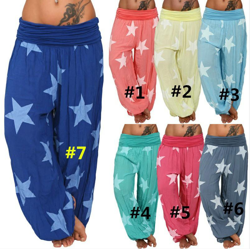 53f1644364 Women Yoga Pants Casual Loose Harem Pants Sexy Lady Elastic Low Waist Stars  Printed Trousers Spring Autumn Clothing B289 Boys Grey Pants Toddler  Snowboard ...