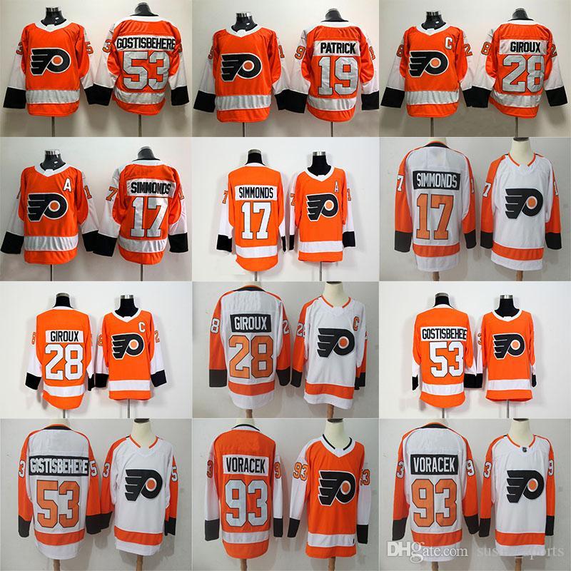 Philadelphia Flyers Jersey 28 Claude Giroux 53 Shayne Gostisbehere 17 Wayne  Simmonds 93 Jakub Voracek 19 Nolan Patrick Hockey Jerseys Online with ... 824206062