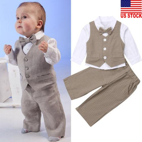 d3930d4446 Kleidung, Schuhe & Accessoires Baby 1 Set Baby clothes top+pants kids boys  wedding party suit tuxedo ...