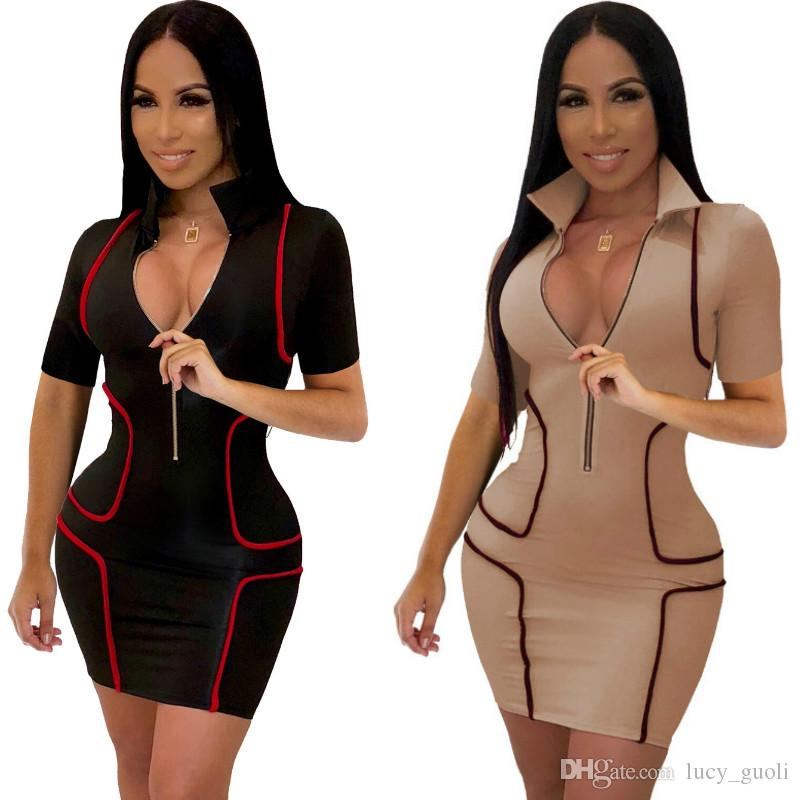 Fashionable Popular 2019 Women Dress Turn-down Collar Short Sleeve Age reduction Slim Mini Dress Sexy Ladies Split Evening Party Clubwear