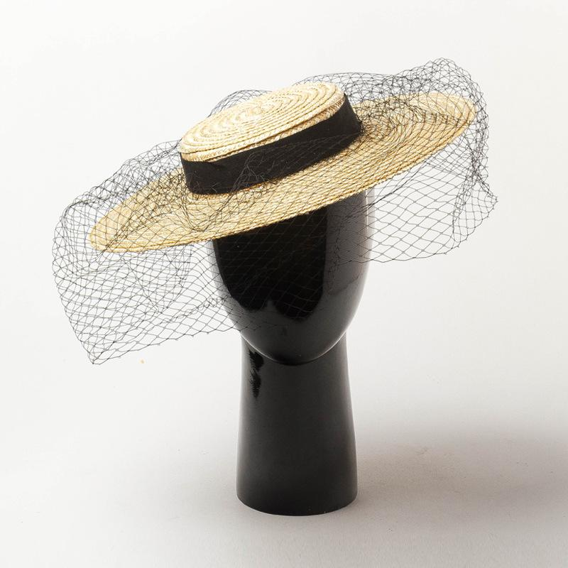 0dba7b325d729 2019 2019 Women Shallow Flat Top Straw Hat With Black Mesh Head Cover  Female Summer Spring Fashion Retro Large Brim Fedoras From Chuancai