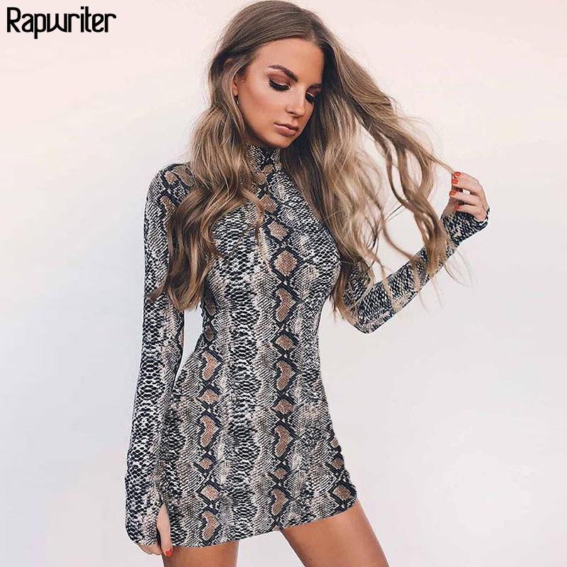 Rapwriter Sexy Skinny Snake Skin Print Turtleneck Long Sleeve Elastic Dress Vestido Women 2018 Fall Winter Bodysuit Mini Dress