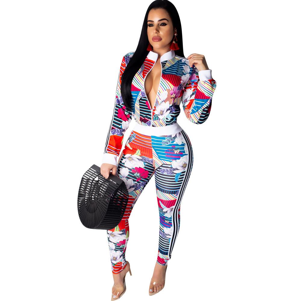 23d8e6ecfa2 2019 Floral Striped Print Sexy Bodycon Jumpsuits Women Front Zipper Long  Sleeve Club Party Romper Streetwear Full Length Body Mujer From Linglon
