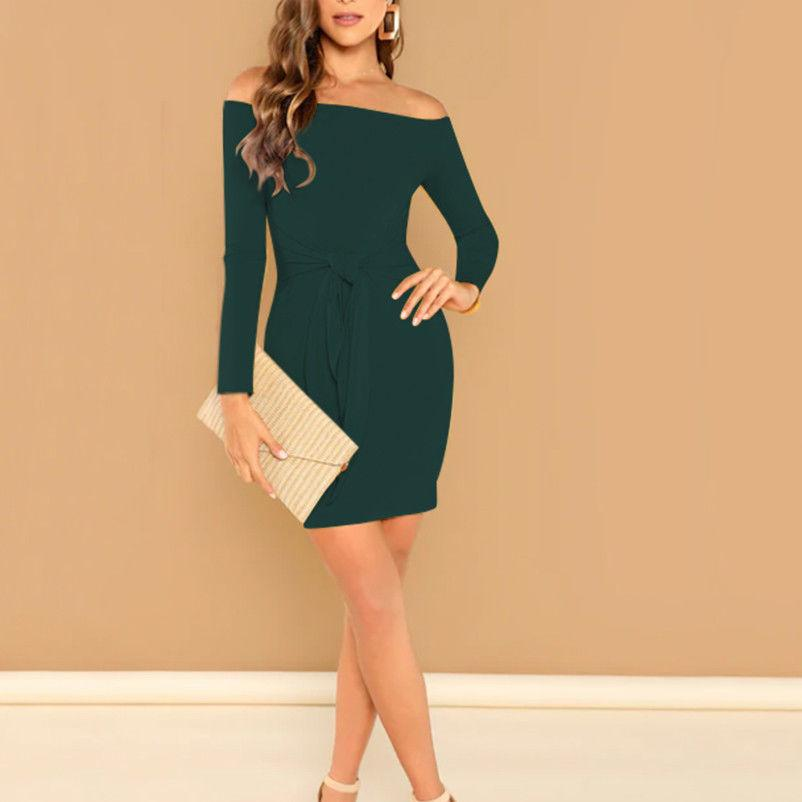 0a27d08f8a13 2019 Newest Style Elegant Women S Off Shoulder Long Sleeve Bodycon Evening  Party Mini Dress Plus Size S XXL Prom Gown Buy Dresses From Ritalei