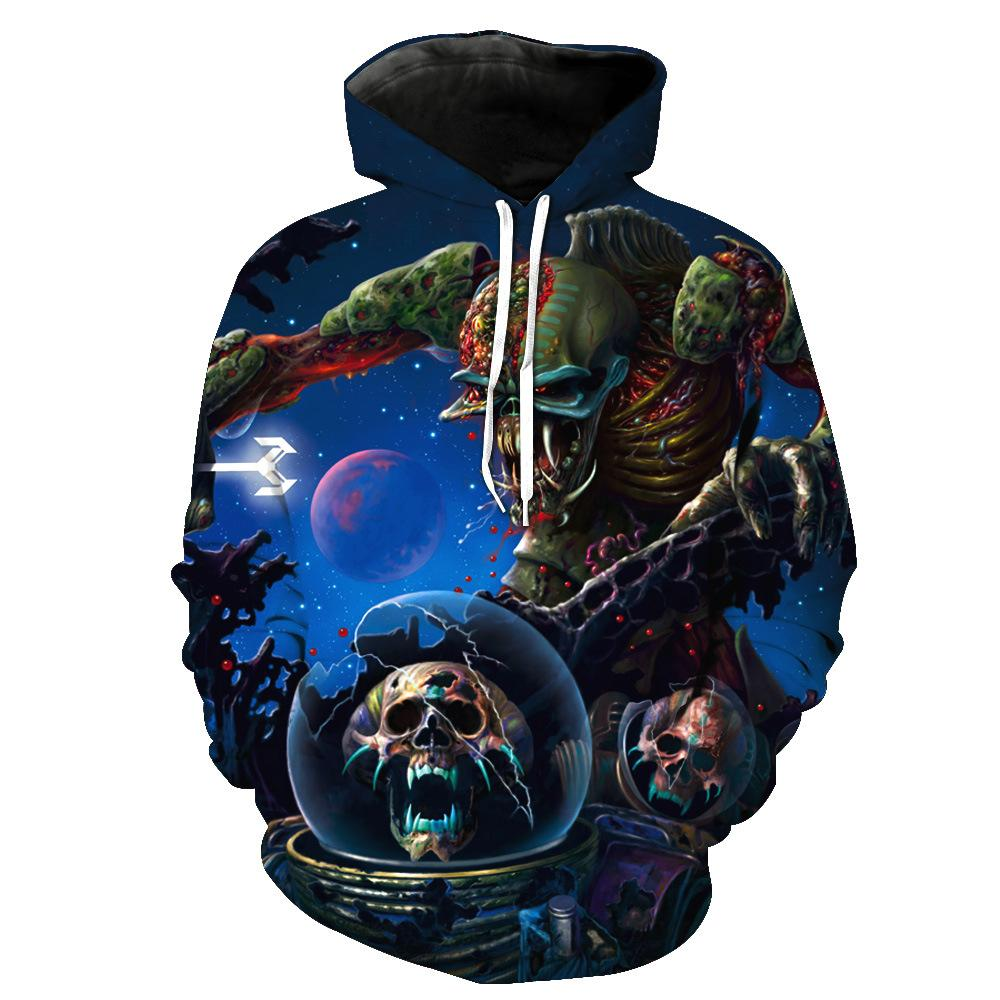 foreign trade Skull Demon printing with cap pocket insert men's fashion with hat men's clothes Blouse hoodies