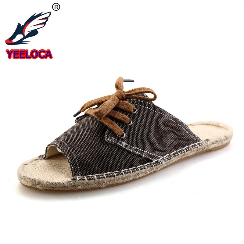 f9cc04f19ba325 New Summer Men Flax Flip Flop Canvas Linen Non-Slip Designer Flat Sandals  Home Slippers Man Fashion Slides Casual Straw Shoe Online with  53.38 Pair  on ...