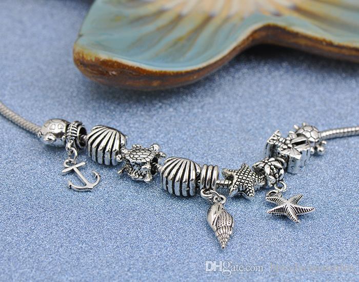 New Silver Chain Bracelets Fit Pandora Women Bangle Marine Animal Openwork Charms Beads Tortoise Starfish Conch Pendant Accessories P175