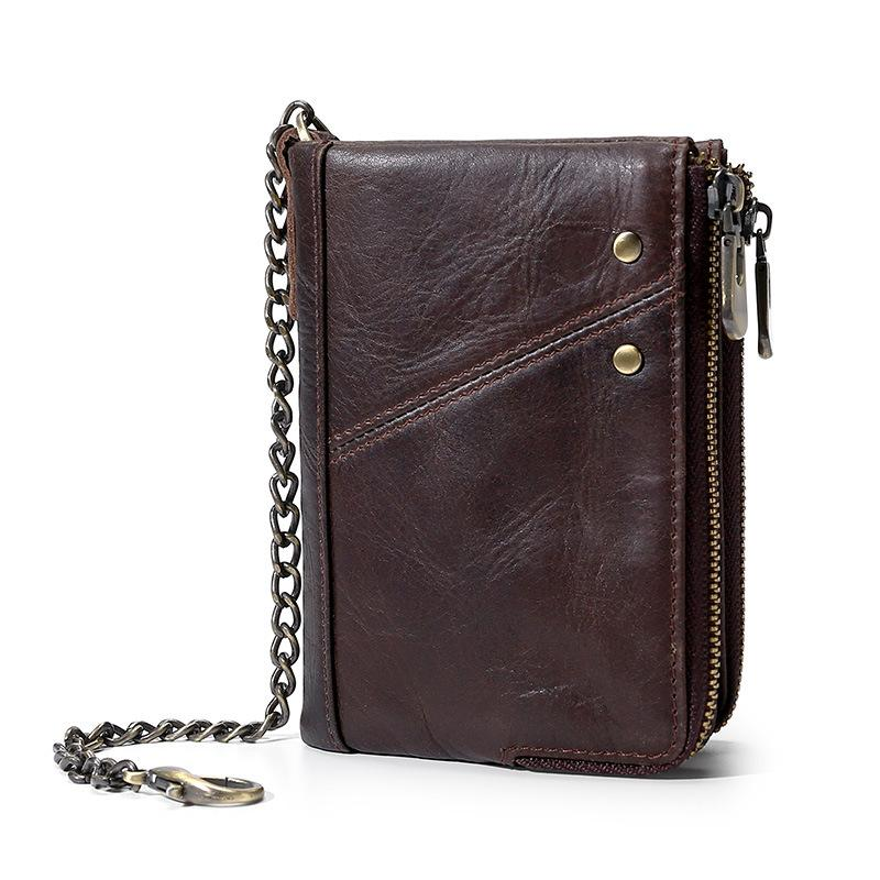 b567340a6cf9 Double Zippers Men s Wallet cowhide Leather RFID blocking anti-theft chain  Multi-Function coin pockets 12 credit card slots Short Wallet