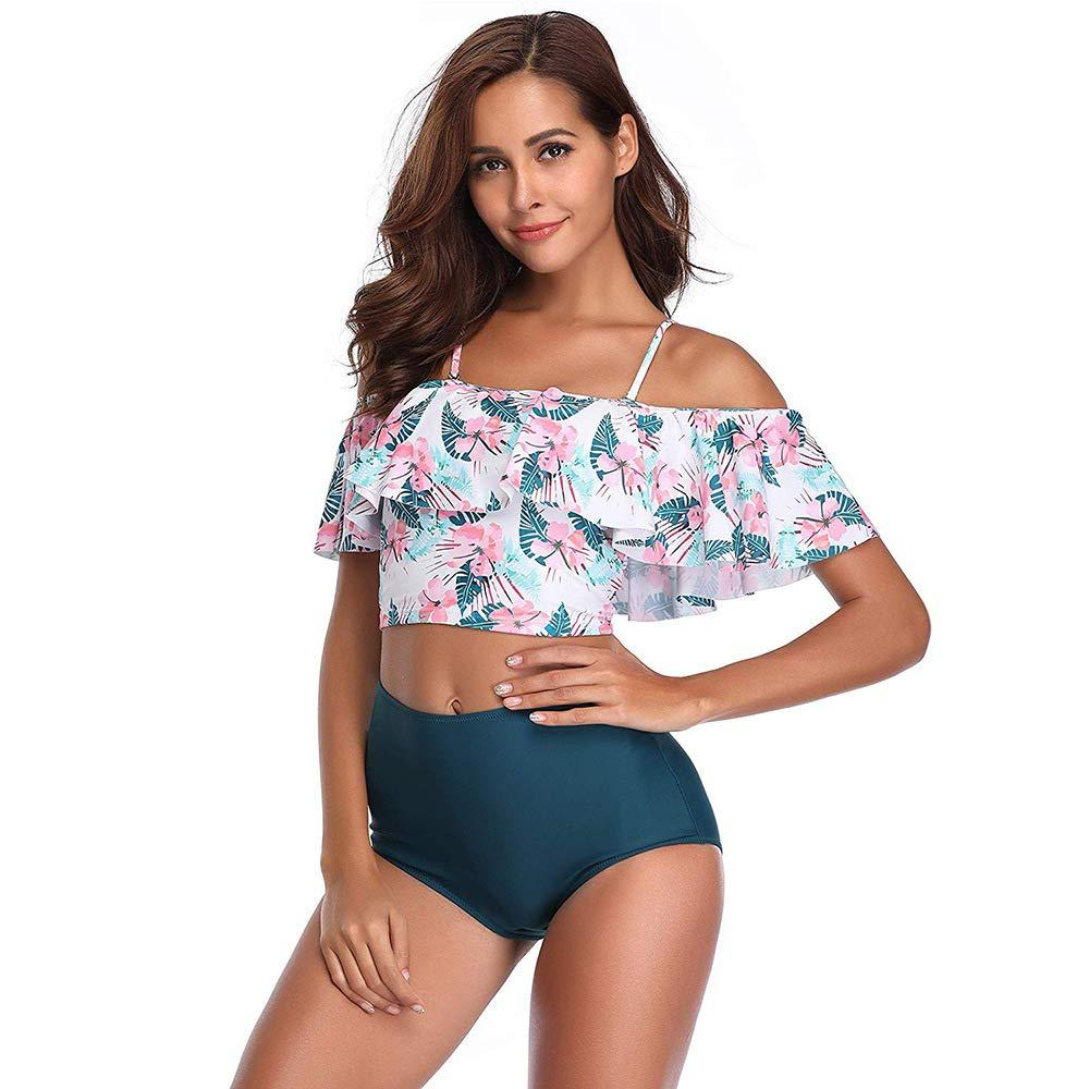 ebc9b3ec8 2019 Women Off The Shoulder Ruffle Floral Print Swimsuit Two Piece Bathing  Suits High Waisted Flounce Bikini Set From Seamless, $11.05 | DHgate.Com