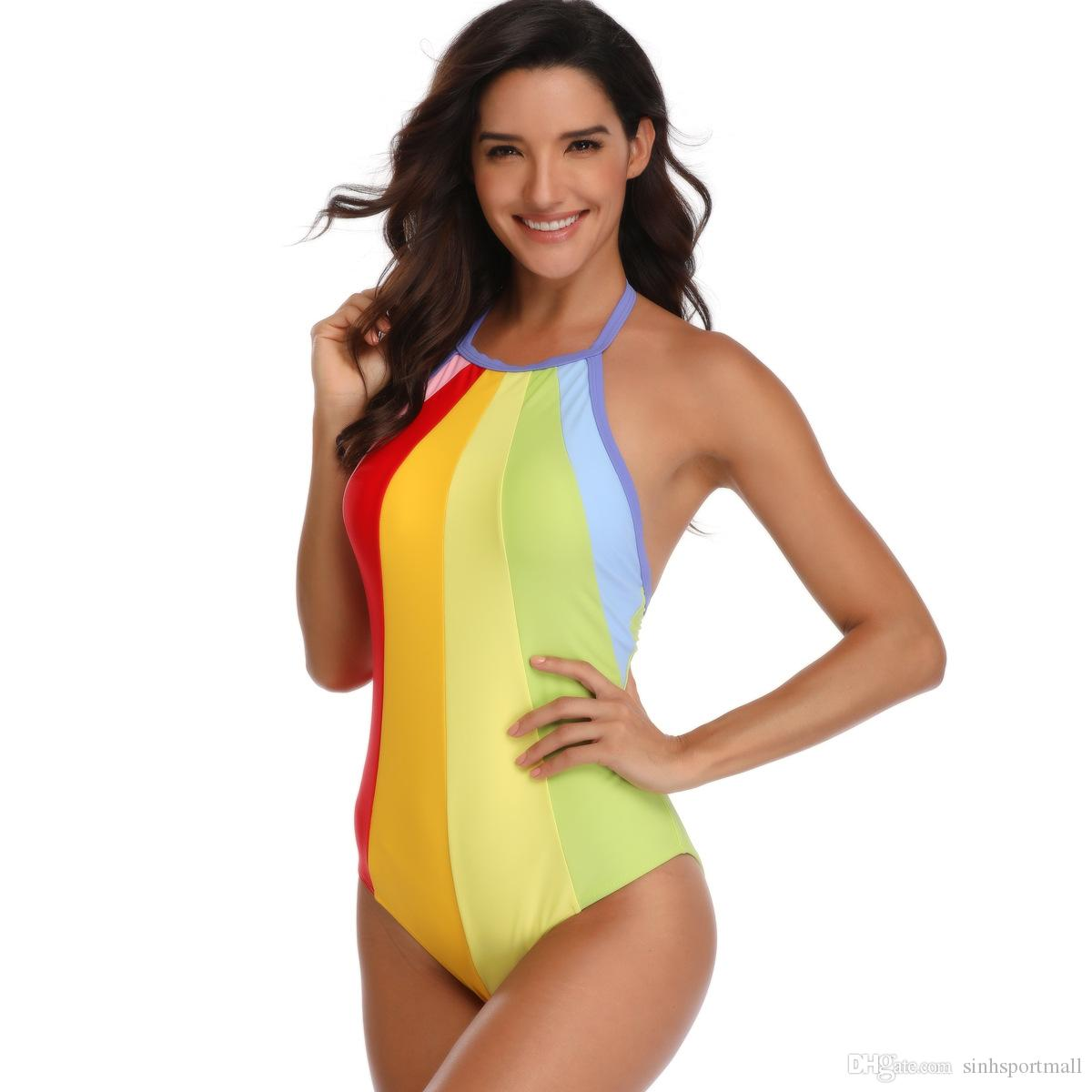 2020 Rainbow One Piece Swimsuit Plus Size Swimwear Women