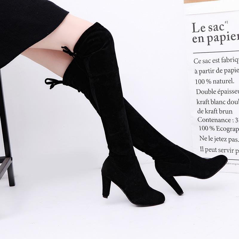 3f641b7d8d0 Compre Las Mujeres De Gamuza Sintética Botas Altas Botas De Moda Sobre La  Rodilla Bota Elástica Flock Sexy Overknee Tacones Altos Zapatos De Mujer  Negro ...