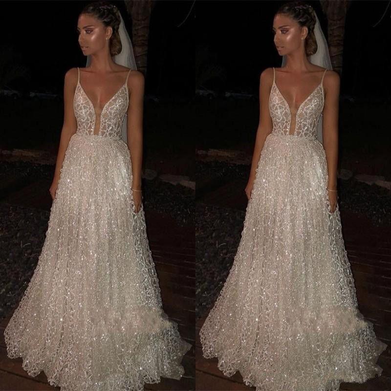 Sparkly Beach Wedding Dresses Backless