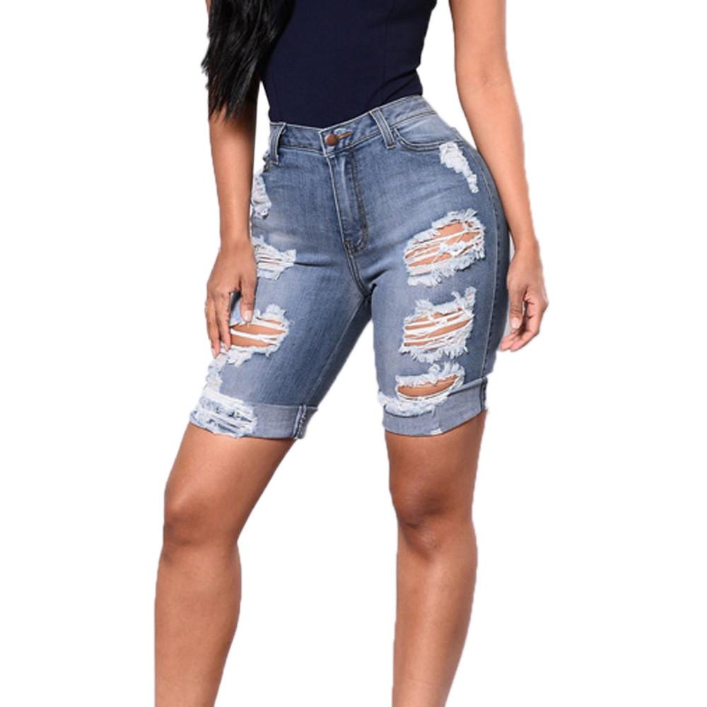 e755c57c6 2019 Women'S Summer Short Feminino Jeans Plus Size Skinny Denim Holes  Broken Knee Length Jeans Destroyed Ripped Distressed Comfy From Charle, ...