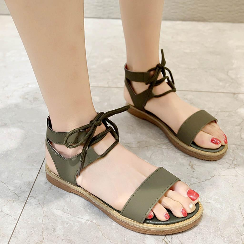 Women Summer Flats Sandals Wide Width Shoes Ladies Fashion Buckle Strap Peep Toe Causal Shoes